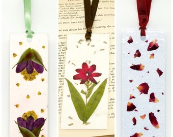 Handmade Paper Bookmark // Pressed Flower Bookmark // Mother's Day Gift // Blue and Red // Purple and Yellow // Pink and Green // Booklover
