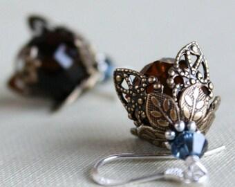 Filigree Flower Earrings, Dangle Drop Earrings, Romantic Flower Earrings, Topaz Flower Earrings, Glass Flower Earrings, Floral Earrings