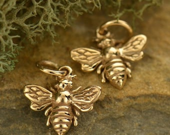 Bronze Bee Charm Gold Necklace Honeybee Bumblebee Pendant Flying Insect Spring Jewelry B699