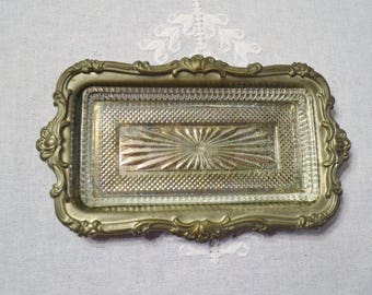 Vintage Silver Plate Butter Dish Glass Liner Ornate Design Romantic Wedding Table Unpolished Tarnished PanchosPorch