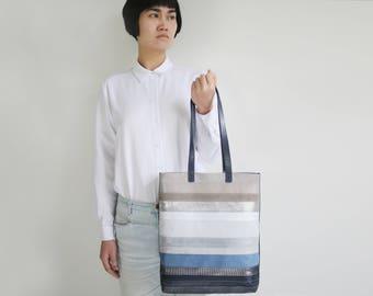 Leather Tote, Multicolor Zip Tote, striped leather tote bag, laptop bag, leather shopper, shoulder bag