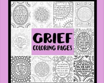 Grief Coloring Book - Comforting Scriptures - Grief Process Tools - Meditative Coloring - Grief Activities - 10 Pages Sheets - Loss