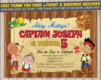 Jake the pirate invitation etsy jake and the neverland pirates invitation jake and the neverland pirates birthday party free thank you card custom digital file printed filmwisefo