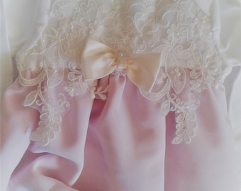 Newborn Girl Vintage Dusty Rose Pink Chiffon Layette gown Newborn Girls Chiffon Bring me Home gown
