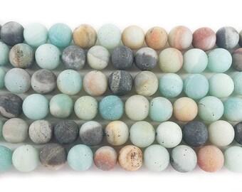 Amazonite Matte Round Gemstone Beads