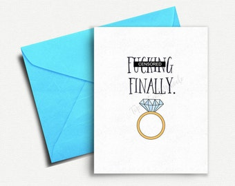 Funny Wedding Card, Wedding Shower Card, Funny Engagement Card, Finally, Engagement Congratulations, Wedding Congratulations, Card for Groom