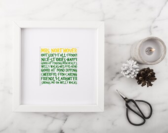 Personalised Typography Frame - Small Square Memories Style