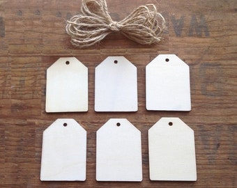 Large Wooden Tags w/jute for hanging. Package of 6. Rectangle Tags. Unfinished Wood Tags. Large Wooden Tags. Wooden Tags. Mason Jar Tags.