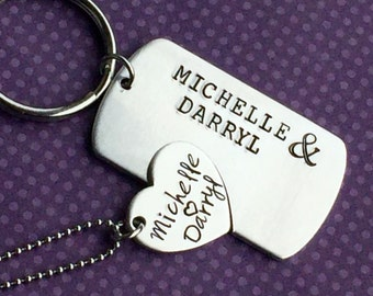 His and Hers Personalized couples set  - Hand Stamped Necklace and key chain Set for Couples - Matching Set - gift- loved one