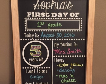 First Day of School Chalkboard Reusable, Back to School Chalkboard