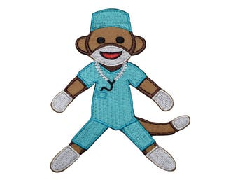 Sock Monkey Surgeon Doctor Applique Patch (Iron on)