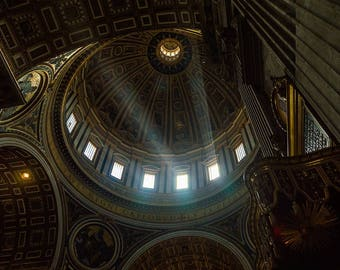Lighting effects in St. Peter's Basilica, Rome - mural on Forex 60 x 40 cm (width x height)