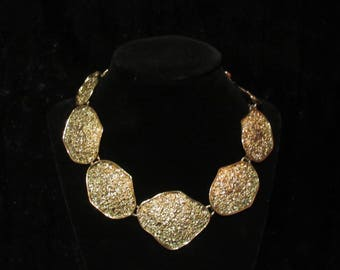 Gold Nugget Linked Necklace