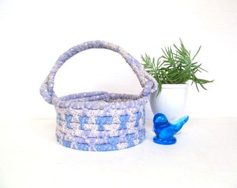 Vintage Blue and Lavender Rag Basket with Handle, Pastel Fabric Coil Basket