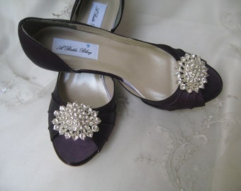 Eggplant Purple Wedding Shoes Eggplant Purple Bridal Shoes Crystal Bling  Brooch  100 Additional Colors To Pick From