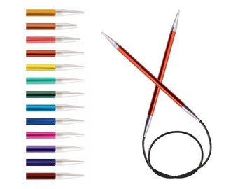 "KnitPro Zing 80cm, 32"" Fixed Circular Needles,  colour-coded  and lightweight"
