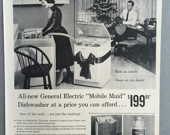 1956 General Electric Mobile MaidDishwasher Print Ad