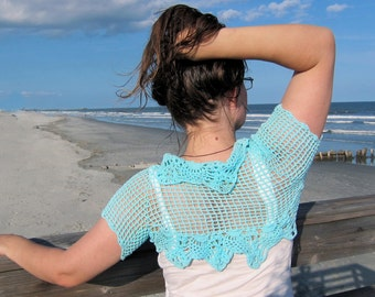 Crochet  Shrug Bolero Stole Capelet Poncho Shawl Scarf Sweater Bridal Wedding Teal Turquoise