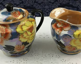 Vintage Lusterware Sugar & Creamer Set with Hand Painted Flowers Gold Gilt Japan