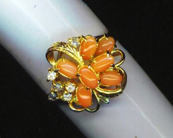 Vintage Orange HGE Coral Cluster Zirconium Ring . 18K Heavy Gold Electroplated Ring . Coral Stones, Clear CZ Cluster . Cocktail Ring, 1970s