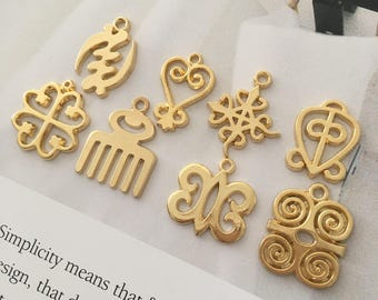 Gold Adinkra MIX- 2 of Each Adinkra charm (16 total)