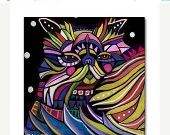 50% SALE- Persian Cat Art Tile Ceramic Coaster Print of painting by Heather Galler Gift