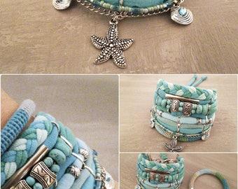 Best Seller Turquoise Boho Bracelet Gypsy Bracelet Seafoam Bohemian Bracelet Boho Bracelet Set Beach Style Turquoise Jewelry Sea Star Charm