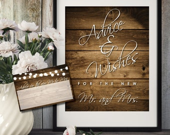 Advice And Well Wishes Sign | Wedding Advice Sign | Advice For The Bride And Groom | Rustic Wedding Decor | Wishing Well to the Mr and Mrs