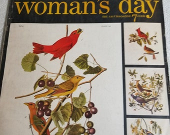 Woman's Day, the A&P magazine June 1954, vintage crafts, recipes, Audobon bird prints, stories, beauty tips