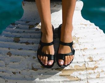 Leather sandals,Ancient Grekk sandals,Handmade sandals,Women's sandals,Black sandals,Elegant sandals,Ancient Greece,Triskelion,ARIES
