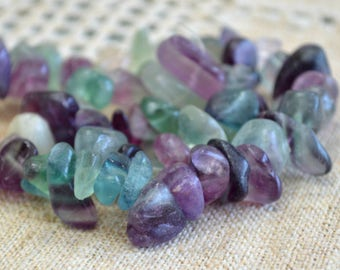 Rainbow Fluorite Extra Large Chips 13 - 21mm 15-Inch Strand Chip Gemstone Beads