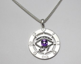 Unique Beautiful Sterling Silver 925 Eye of Horus Evil Eye Magic Protection Black Onyx and Amethyst Necklace Talisman Egypt