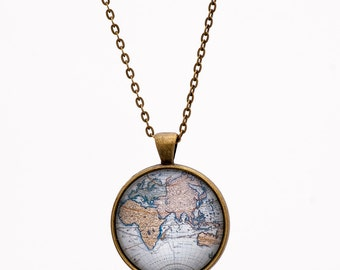 World Map Necklace - Globe Necklace - Atlas Necklace - Adventure Necklace - Blue Necklace - Gift for Travelers Explorer - Gift for Him