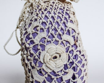 Anrique Ecru Cream Crochet Satchel PURSE or Miser, Floral Pattern, Free Shipping