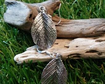 Sterling silver leaf earrings