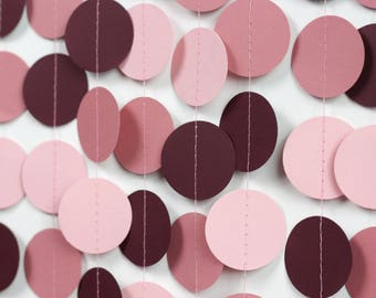 Pink Ombre Garland - Burgundy and Pink Garland - Burgundy Paper Garland - Pink and Mauve Circle Garland - Valentine's Day Decorations