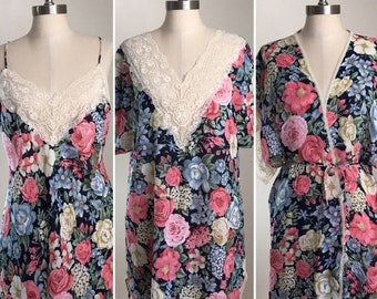 30% Off Sale 80s Val Mode Lingerie Navy Pink Floral Lace Nightgown, Chemise and Matching Robe Set, Size Medium to Large