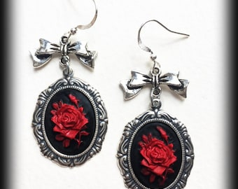 Red Rose Earrings, Gothic Victorian Cameo Earrings, Antique Silver, Gothic Jewelry, Gothic Gift, Alternative Earrings, Victorian Jewelry