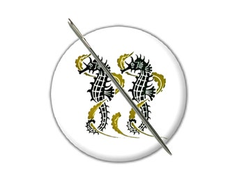 Seahorses needle minder magnet cross stitching sewing tool sewing notion wife gift under 10 stocking stuffer art nouveau