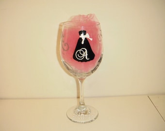 Personalized Wine Glass with dress and swirls