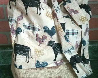 Reusable Tote Bag or Purse Made with Recycled Coffee Burlap Sack and Chicken/Pig/Cow/Farm Cotton Print. Great for the the farmers market!