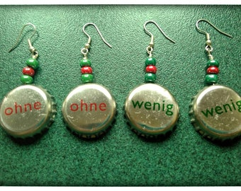 Pair of pendant earrings bottle caps, glass beads, upcycling, recycling, green Red, little without, earrings text, words, lettering, writing, eye catching