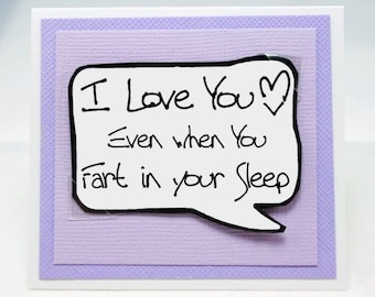 Funny Couples Card for Him. Fart Card. Funny Cards for Husbands. MN232