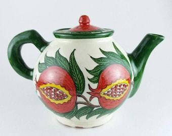 Red and white teapot, big red pomegranate teapot, teapots for sale, tea pot pottery,handmade pottery teapot,ceramic teapot,decorative teapot