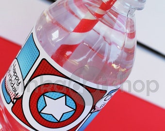Superhero Collection. Water Bottle Labels. DIY Printable Design. Pinkadot Shop