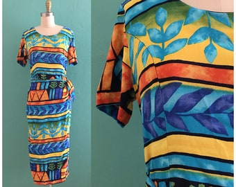 vintage 80's colorful wrap dress // resort dress