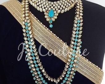 Designer Bollywood Ferozi Kundan Haar Set Kundan Jewelry Indian Bridal Bridal Jewelry Kundan Necklace Kundan Jewellery Indian Jewelry