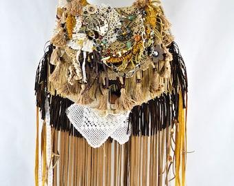 Gypsy Hippie Festival Large boho Bohemian fringe, Crossbody Strap, Long Suede Fringe, Gold, Brown, Tan, Handbag Upcycled Purse gypsy goods