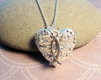 FAITH Essential Oil Diffuser Necklace,  Heart Shaped Oil Diffuser Pendant