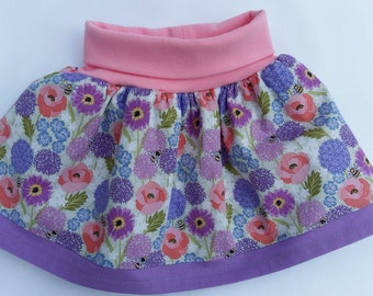 Baby skirt, yoga waistband, floral skirt, purple/pink skirt, 9-12 m